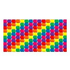 Rainbow 3d Cubes Red Orange Satin Shawl