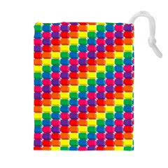 Rainbow 3d Cubes Red Orange Drawstring Pouches (Extra Large)