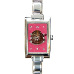 Snail Pink Background Rectangle Italian Charm Watch