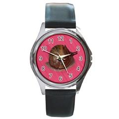 Snail Pink Background Round Metal Watch