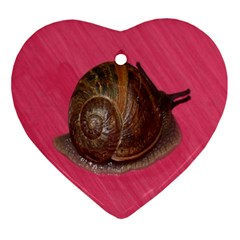 Snail Pink Background Ornament (Heart)