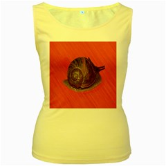 Snail Pink Background Women s Yellow Tank Top