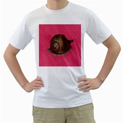 Snail Pink Background Men s T-Shirt (White) (Two Sided)