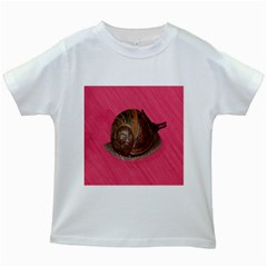 Snail Pink Background Kids White T-Shirts