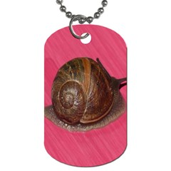 Snail Pink Background Dog Tag (Two Sides)