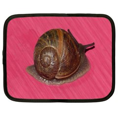 Snail Pink Background Netbook Case (Large)