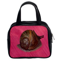Snail Pink Background Classic Handbags (2 Sides)