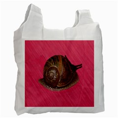Snail Pink Background Recycle Bag (One Side)