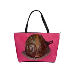 Snail Pink Background Shoulder Handbags