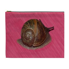 Snail Pink Background Cosmetic Bag (XL)