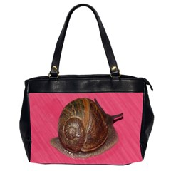 Snail Pink Background Office Handbags (2 Sides)