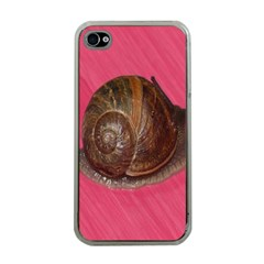 Snail Pink Background Apple iPhone 4 Case (Clear)