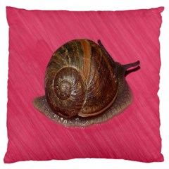 Snail Pink Background Large Cushion Case (Two Sides)