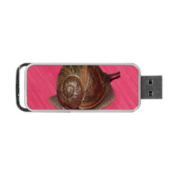 Snail Pink Background Portable USB Flash (Two Sides)