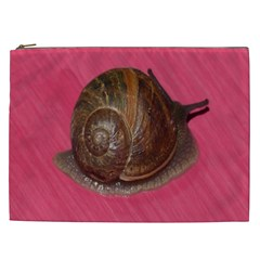 Snail Pink Background Cosmetic Bag (XXL)