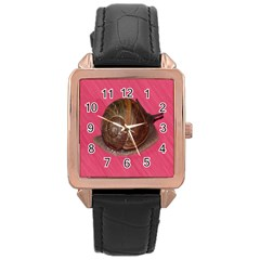 Snail Pink Background Rose Gold Leather Watch