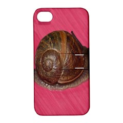 Snail Pink Background Apple iPhone 4/4S Hardshell Case with Stand