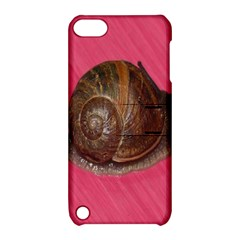 Snail Pink Background Apple iPod Touch 5 Hardshell Case with Stand