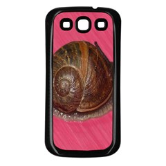 Snail Pink Background Samsung Galaxy S3 Back Case (Black)