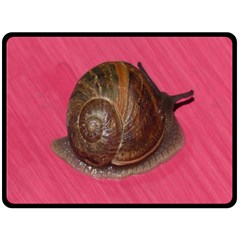 Snail Pink Background Double Sided Fleece Blanket (Large)
