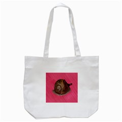 Snail Pink Background Tote Bag (White)