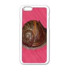 Snail Pink Background Apple iPhone 6/6S White Enamel Case