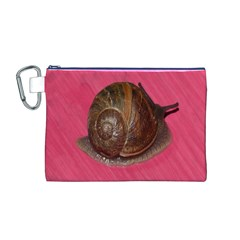 Snail Pink Background Canvas Cosmetic Bag (M)
