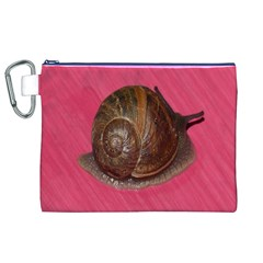 Snail Pink Background Canvas Cosmetic Bag (XL)