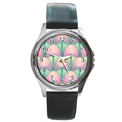 Seamless Pattern Seamless Design Round Metal Watch
