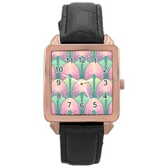 Seamless Pattern Seamless Design Rose Gold Leather Watch