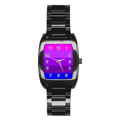 Transgender Flag Stainless Steel Barrel Watch