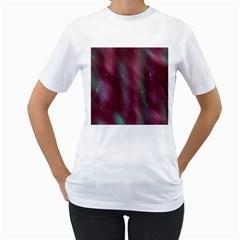 Stars Nebula Universe Artistic Women s T-Shirt (White) (Two Sided)