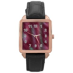 Stars Nebula Universe Artistic Rose Gold Leather Watch
