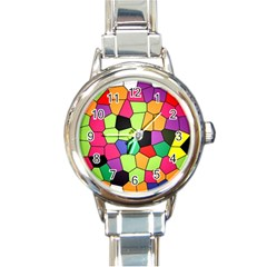 Stained Glass Abstract Background Round Italian Charm Watch