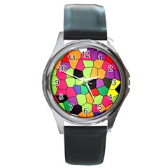 Stained Glass Abstract Background Round Metal Watch