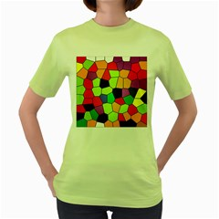 Stained Glass Abstract Background Women s Green T-Shirt