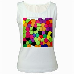 Stained Glass Abstract Background Women s White Tank Top