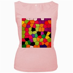 Stained Glass Abstract Background Women s Pink Tank Top