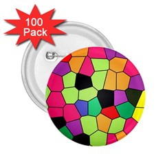Stained Glass Abstract Background 2.25  Buttons (100 pack)