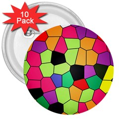 Stained Glass Abstract Background 3  Buttons (10 pack)