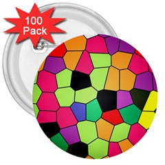 Stained Glass Abstract Background 3  Buttons (100 pack)