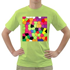 Stained Glass Abstract Background Green T-Shirt