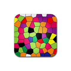 Stained Glass Abstract Background Rubber Coaster (Square)