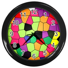 Stained Glass Abstract Background Wall Clocks (Black)