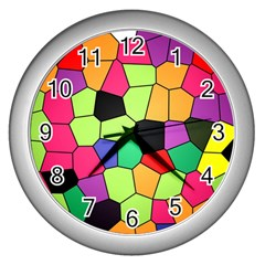 Stained Glass Abstract Background Wall Clocks (Silver)