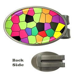 Stained Glass Abstract Background Money Clips (Oval)
