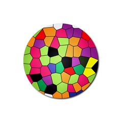 Stained Glass Abstract Background Rubber Round Coaster (4 pack)