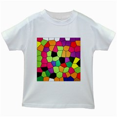 Stained Glass Abstract Background Kids White T-Shirts
