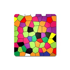 Stained Glass Abstract Background Square Magnet