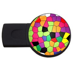 Stained Glass Abstract Background USB Flash Drive Round (1 GB)